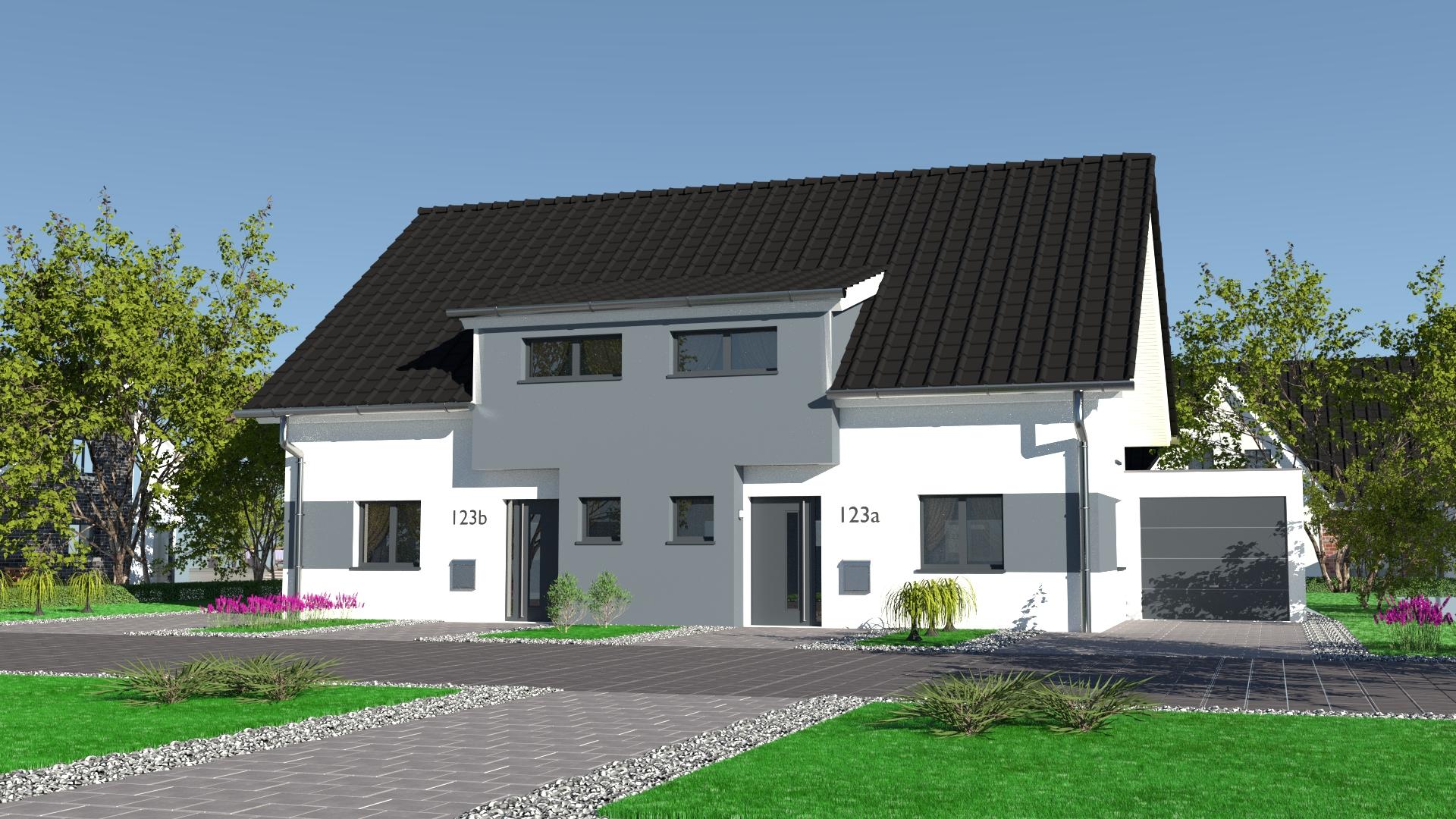 Style 123 bsa wohbau for Doppelhaus modern